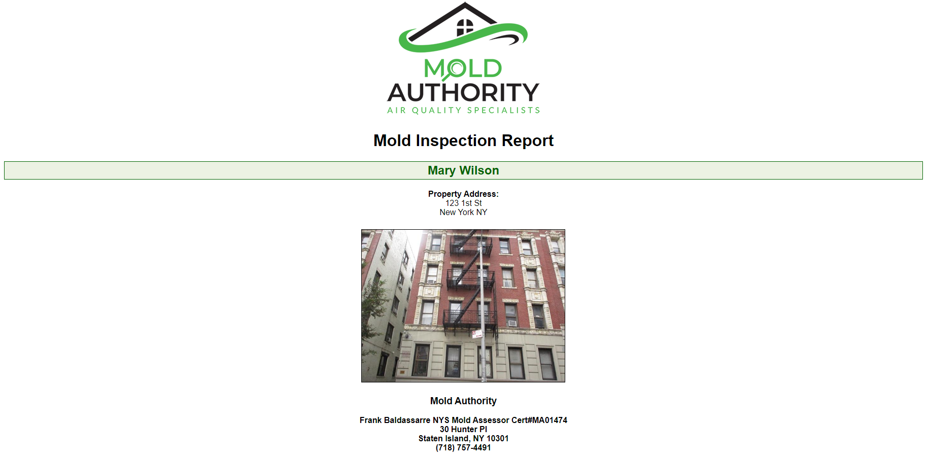 Apartment Mold Inspection Report Sample
