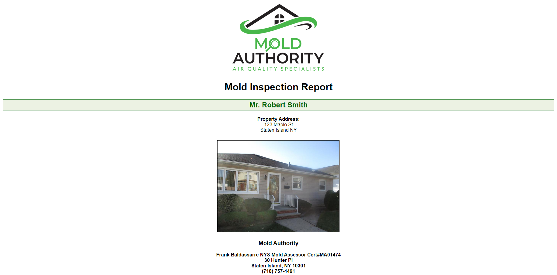 Single-Family Home Mold Inspection Report Sample